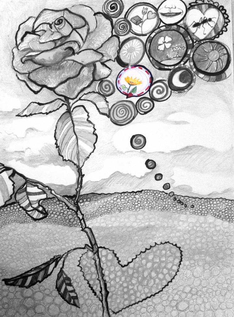 dipinto il girasole l'amore e le nuvole_favola_6