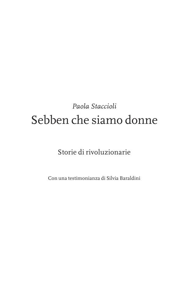 Paola Staccioli Sebben che siamo donne