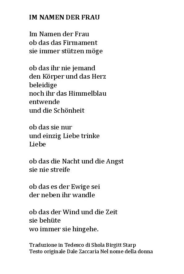 nel nome della donna in tedesco traduzione shola birgitt starp dale zaccaria