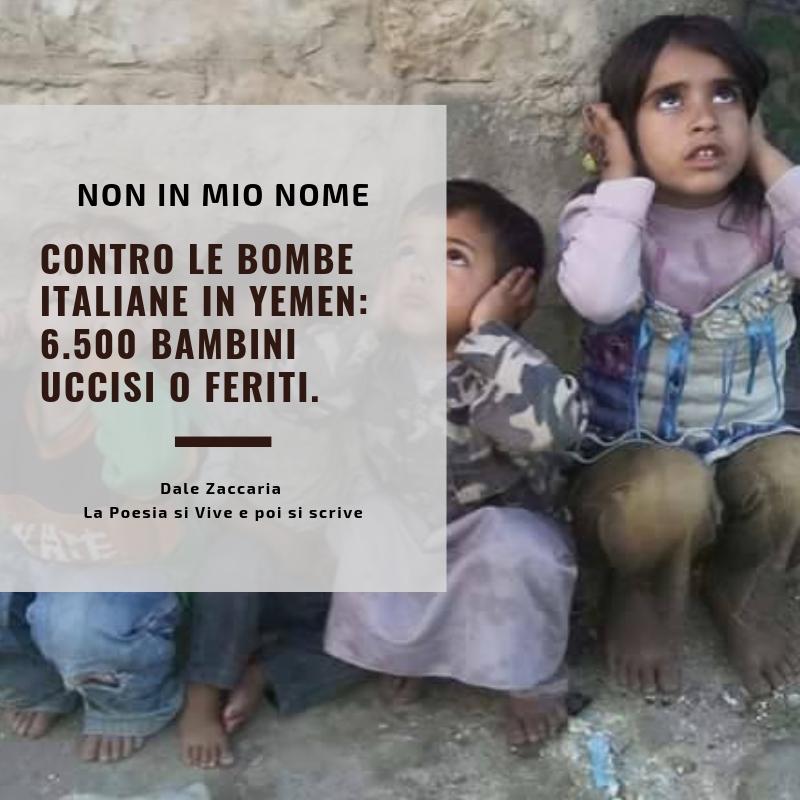 Contro le bombe italiane in Yemen 6.500 bambini uccisi o feriti.
