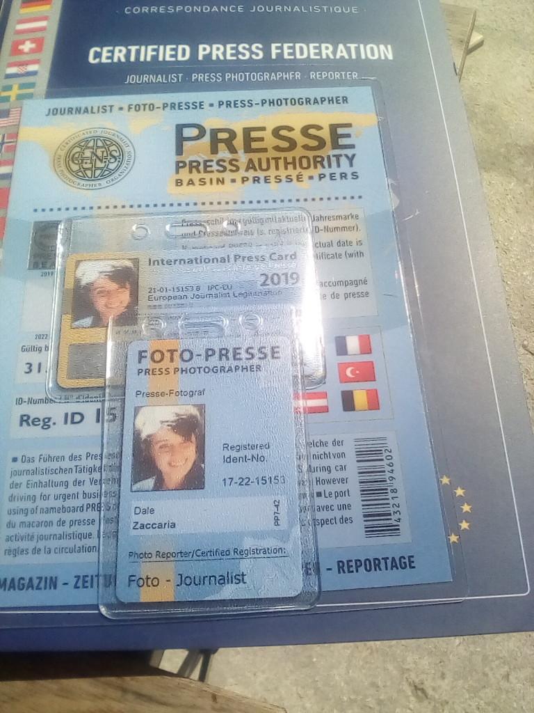 Tesserino stampa internazionale GNS PRESS DALE ZACCARIA